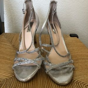 INC SILVER STRAPPY HIGH HEELS (PROM/HOMECOMING)